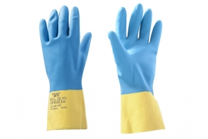 Перчатки неопреновые хозяйственно - промышленные, р-р 9/L, К80, Щ40, желто-голубые,  Хозяйственные, промышленные перчатки из неоп