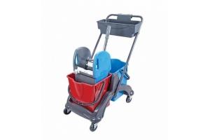 Уборочная тележка 2 х 25 л Extra пластиковая база с отжимом и пластиковой корзинкой / Артикул CK756